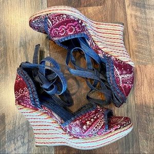 RAMPAGE Madrid Floral Bandanna Tie Up Wedges